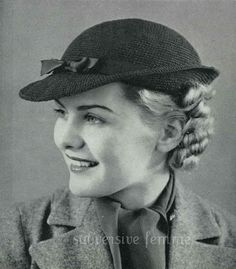 """1936 Swagger Hat Crochet Pattern for a 22"""" head.   Made using Raphael Gimp, which should = Size 10 Crochet Cotton, using a Milward's Steel Crochet Hook No. 4 (this should be the same size crochet hook).  Trimmed in purchased ribbon. PDF downloadable pattern available from subversivefemme on ETSY, $2."""