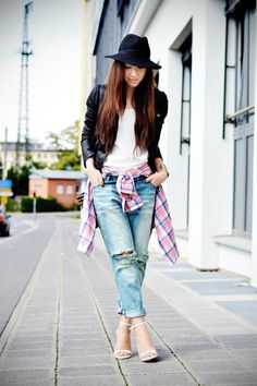 boyfriend jeans and checked shirt     http://www.flirting-with-fashion.blogspot.com