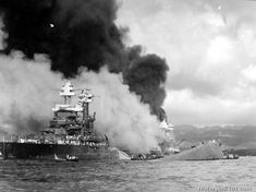The USS Nevada after the Japanese attack on Pearl Harbor, Dec. 7, 1941.