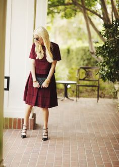 Can't go wrong with a great two piece fall outfit. Gold Dust and Sugar Lust styles our burgundy windowpane check crop top and full pleated skirt with our black patent leather strappy pumps and a small black leather clutch   Banana Republic