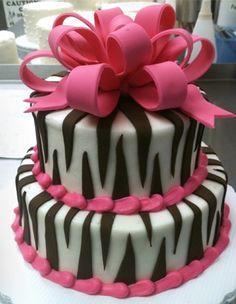 Pink zebra print cake. Love. tracyfoster627