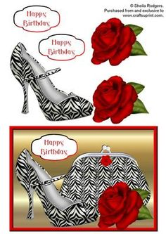 Zebra Print Shoe and Purse With Rose on Craftsuprint designed by Sheila Rodgers…