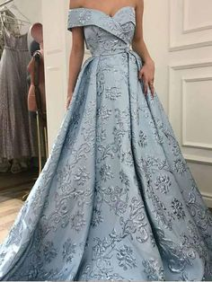 Prom Dress, A-Line Party Dress, Blue Party Dress, Light Blue Prom Dresses Prom Dresses 2019 Prom Dresses With Sleeves, Prom Dresses Blue, Evening Dresses, Long Dresses, Elegant Evening Gowns, Evening Gowns Couture, Bridesmaid Dresses, Chiffon Dresses, Dress Prom