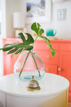orange coral console, colorful tropical style decor