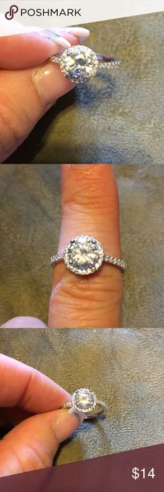 cubic zirconia engagement/dinner ring  Sterling silver diamond CZ crystal ring, beautiful, shines, looks like the real thing size 7, please ask questions before purchase  Jewelry Rings