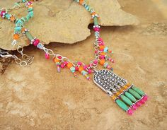 Bohemian Necklace, Boho Colorful Necklace, Hippie Chic, Beaded Festive Feista Party Jewelry, Handmade Bohemian Jewelry by Kaye Kraus by BohoStyleMe on Etsy