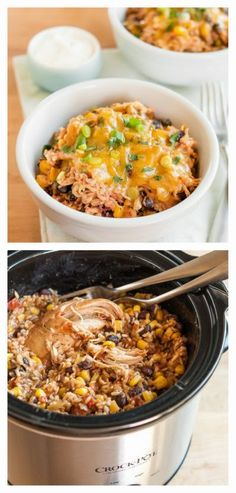 Slow Cooker Chicken Burrito Bowls from The Kitchn; this is a perfect dish to make on the weekend and eat all week.  For a lower-glycemic version I would omit the corn and use more chicken in proportion to the other ingredients.  [via Slow Cooker from Scratch - SlowCookerFromScratch.com] #SlowCooker #CrockPot #BurritoBowl