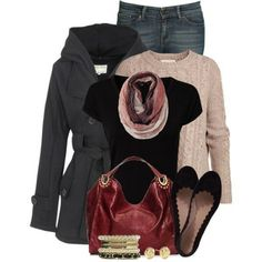 jeans + beige sweater + black flats + red bag  + grey pea coat //