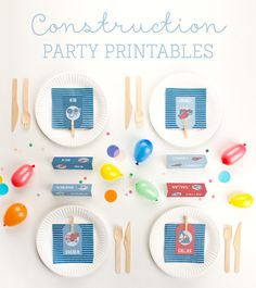 An entire 19 page suite of free personalized printables for a construction themed kid's party - everything from place cards to decor to snack holders | Tiny Me