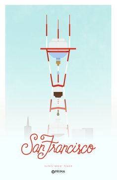 San Francisco Sutro Tower as a Cold Brew. Coffee Cities. @primacoffee