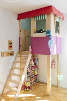 Something simple like this could work. Maybe with a rock climbing wall instead of a ladder and some sort of swing.