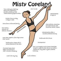 Misty Copeland is one of the most influential ballerinas of modern day. She stood up to major injustices in the ballet world. With her action sparked a reform for the ballet stereotype of body & skin color. Our ballet community is no longer conforming to Art Ballet, Ballet Moves, Ballet Body, Dance Tips, Dance Poses, Dance Tutorial, Tutu Tutorial, Dance Positions, Dance Technique
