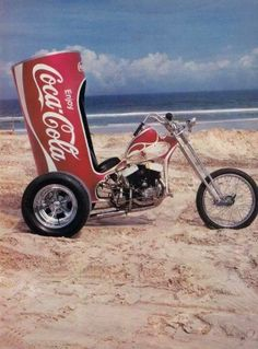 There's nothing like thinking about a beach, the warm sand, and a refreshing can of Coca-Cola on a cold winter day...  #motorcycle