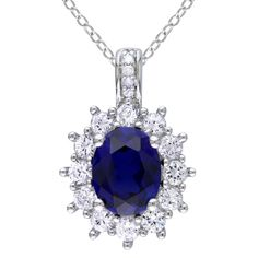 Diamond And Sapphire Silver Pendant Necklace - White Gender: Female. Diamond And Sapphire Silver Pendant Necklace - White Sapphire Pendant, Sapphire Necklace, Sapphire Jewelry, Diamond Pendant Necklace, Gemstone Necklace, Necklace Chain, Pendant Jewelry, The Sapphires, Sterling Silver Flowers
