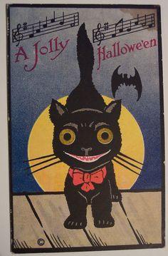 Vintage Halloween Black Cat Poster