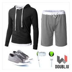 """Doublju Mens Hood Pull-over with Contrast String"" by doublju-company ❤ liked on Polyvore"