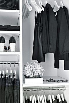*styling, closet design, black and white, interiors*