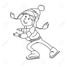 Illustration of Boy skating on ice. Outline cartoon character for coloring book, greeting card and winter design vector art, clipart and stock vectors. Cartoon Characters, Fictional Characters, Sport, Outline, Vector Art, Smurfs, Snow Man, Coloring Books, Skate
