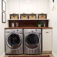 We're blown away by this bright laundry room makeover by @chrislovesjulia featuring Lowe's Whirlpool Duet in Diamond Steel! Click the link in profile to see the before and after. #Lowes #Whirlpool #LaundryRoom