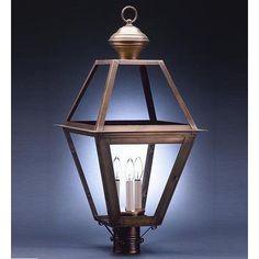 Northeast Lantern Boston 3 Light Lantern Head Finish: Raw Brass, Shade Type: Clear