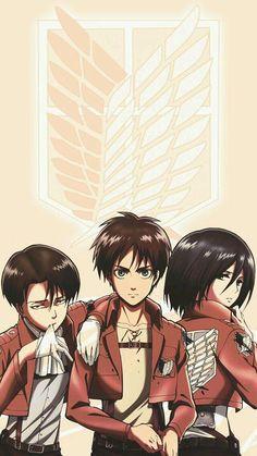 Shingeki No Kyojin (Attack On Titan) - Levi Ackerman, Eren Jaeger and Mikasa Ackerman Attack On Titan Season 2, Attack On Titan Fanart, Attack On Titan Eren, Attack Attack, Eren And Mikasa, Levi X Eren, Armin, Manga Anime, Anime Art