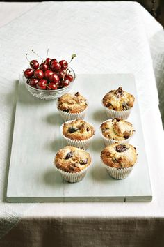 cherry and almond muffins
