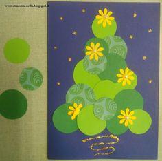 Cinque  modelli di biglietti natalizi facili da realizzare.   Bastano delle fustelle  a forma di margherita e stella, delle mezze perline...