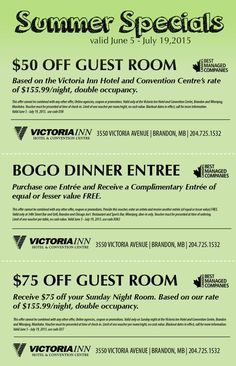 Planning a summer road trip to ‪#‎Brandon‬? Receive $50 off a guest room, buy one entree and get one free and get $75 off a guest room with these coupons! Offers valid until July 19. #coupon #deal #special #discount