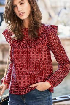 Buy Red Broderie Ruffle Top from the Next UK online shop