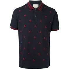 Gucci bee and star polo shirt ($670) ❤ liked on Polyvore featuring men's fashion, men's clothing, men's shirts, men's polos, blue, mens blue polo shirts, mens slim shirts, mens short sleeve shirts, mens straight hem shirts and mens slim fit polo shirts