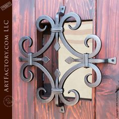 Vertical Groove Panel Front Door: Custom Castle Style Iron Hardware - solid wood design inspired by historic castles, and built with old world craftsmanship Iron Front Door, Wood Front Doors, Iron Doors, Wrought Iron Decor, Wrought Iron Gates, Wrought Iron Designs, Appartement Design Studio, Door Grill, Custom Wood Doors