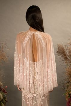 Wildflower Cape gown in silk tulle. Boho Wedding Flowers, Boho Wedding Hair, Boho Wedding Decorations, Wedding Dresses, Wedding Trends, Wedding Designs, Hermione, Wedding Types, Floral Gown