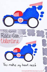 Footprint Race Car Valentine craft for kids - The Motor Show Valentine Crafts For Kids, Fathers Day Crafts, Baby Crafts, Toddler Crafts, Valentines, Toddler Art, Kid Crafts, Daycare Crafts, Preschool Crafts