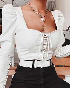 White Long Sleeve Bustier Top Find More Stylish Women Swimwear, Dresses, Jumpsuits, Sets, Tops & Bottoms. Bustiers, Spring Tops, Collar Top, Fashion Outfits, Womens Fashion, Fashion Ideas, Fashion Hacks, Fashion Clothes, Fashion Fashion