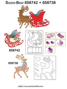 658738 Sizzix Bigz Die - Reindeer by Brenda Walton Simple Christmas Cards, Printable Christmas Cards, Christmas Templates, Christmas Colors, Christmas Crafts, Reindeer Christmas, Christmas Wrapping, Reindeer And Sleigh, Christmas Applique
