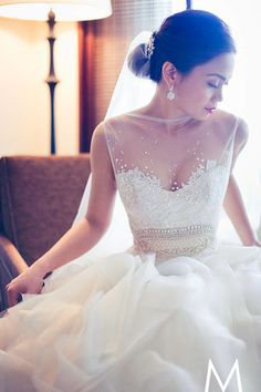 A Veluz Reyes wedding gown with a sheer top and detailed bodice. Best Wedding Dresses, Wedding Attire, Bridal Dresses, Wedding Styles, Wedding Gowns, Lace Wedding, Elegant Wedding, Wedding Bride, Veluz Wedding Dress