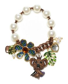 Betsey Johnson charm bracelet, I don't care for these charms, but I love the pearl chain combo