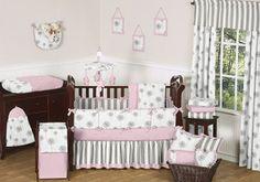 floral crib bedding | Floral Pink White Dandelion Flowers Baby Girl Crib Bedding Set Made in ...