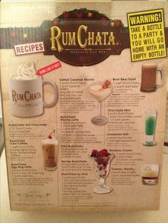 RumChata CINNAMON ROLL: Shake with ice and strain into shot glass 2-4parts Rum Chata, 1part spiced rum --[OO]