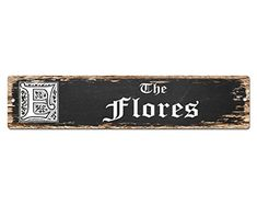 The FLORES Family name Plate Sign Vintage Rustic Street Sign Beach Bar Pub Cafe Restaurant shop Home Room Wall Door Decor Gift Sign * You can find more details by visiting the image link. (This is an affiliate link) #HomeDecorPlaques