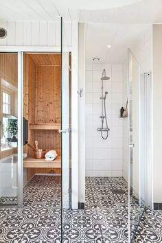 Fliesen-Deko Ideen: modernes Badezimmer mit moderner Einrichtung, Dusche und Sauna