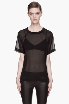 BLK DNM Black Silk Georgette T-shirt