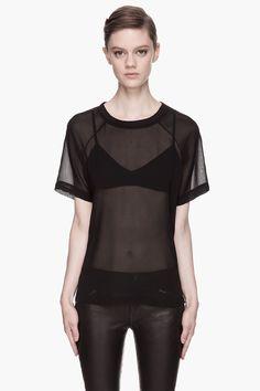 BLK DNM Black Silk Georgette T-shirt
