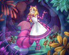 Secret Santa - Alice Cheshire by Geminine-nyan on DeviantArt Alice In Wonderland Artwork, Dark Alice In Wonderland, Adventures In Wonderland, Cheshire Cat Art, Chesire Cat, Arte Disney, Disney Fan Art, Gato Alice, Comic Collage