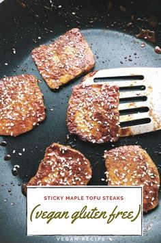 sticky maple tofu steaks vegan gluten Meals/Dips/Salads This Best recipes Recipes was brilliant i re Low Carb Vegetarian Recipes, Vegetarian Recipes Dinner, Tofu Recipes, Vegetarian Casserole, Easy Recipes, Recipies, Tofu Recipe For Toddler, Steaks, Tofu Steak