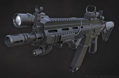 HK 416 rifle with attachments - Polycount Forum