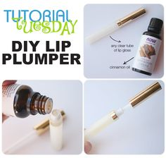 """Basic principle-plumper seem to be irritants. Mildly""""stinging"""" things on lips, cause a little extra blood flow, leading to scarlet, plumper lips. Ex:cinnamon, wintergreen, ginger & capsicum (found n hot peppers) all cause flush & swelling. NEED: clear tube of lip gloss, Cinnamon Oil Extract (check local market) Add about 6-8 drops! (powerful don't want to overdo) Put cap back on & make sure to evenly mix up the oil. Apply to lips. Watch the Magic. OVERUSE:may cause potential dryness/scaling."""
