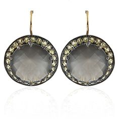 Andrea Fohrman Grey Moonstone and Yellow Sapphire Earrings ($1,700) ❤ liked on Polyvore