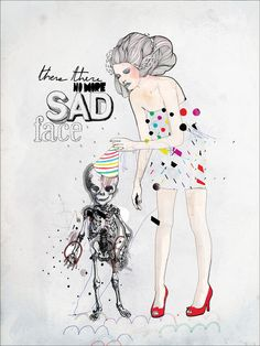 There, There No More Sad Face - art illustration girl skeleton print by Mydeadpony