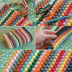 Crochet Bobble Stitch Rug Lots Of Free Patterns You'll Love Bobble Crochet Blanket, free tutorial and video Crochet Bobble, Crochet Diy, Crochet Motifs, Crochet Home, Love Crochet, Learn To Crochet, Crochet Crafts, Crochet Stitches, Crochet Projects